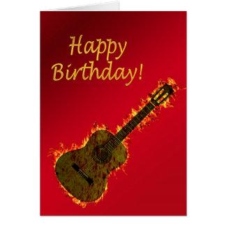 Flaming Guitar birthday card