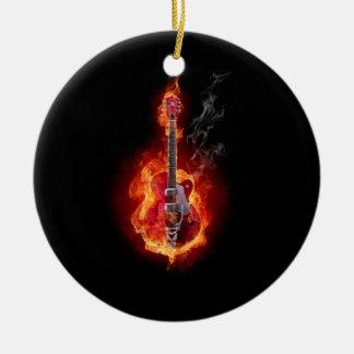 Flaming Guitar Ceramic Ornament