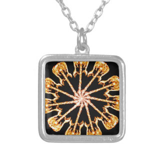 Flaming Guitar Kaleidoscope Burning Rock and Roll Silver Plated Necklace