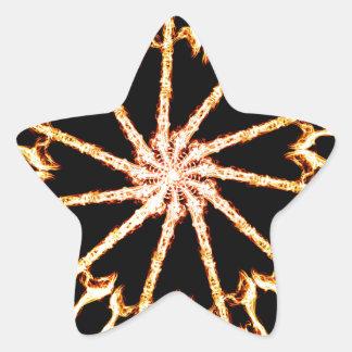 Flaming Guitar Kaleidoscope Burning Rock and Roll Star Sticker