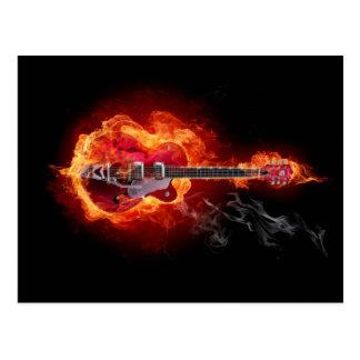 Flaming Guitar Postcard