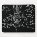 Flaming guitar Reverse Black  & White Levi G style Mousepad