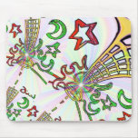 Flaming Guitar w' Rasta colors psychadelic style Mouse Pads