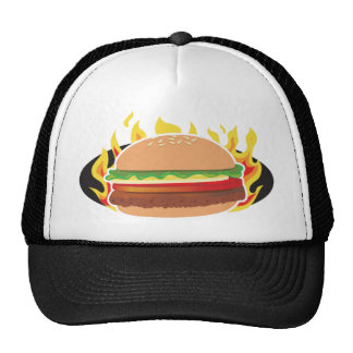 Flaming Hamburger Mesh Hat