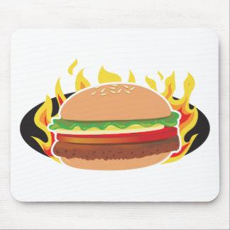 Flaming Hamburger Mouse Pad