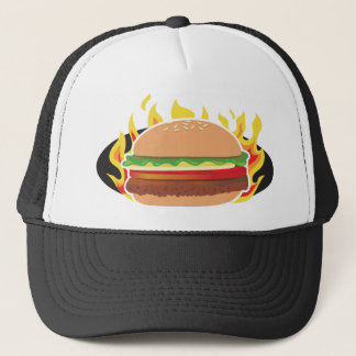 Flaming Hamburger Trucker Hat