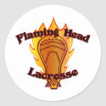Flaming Head Lacrosse Classic Round Sticker