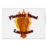 Flaming Head Lacrosse Greeting Card