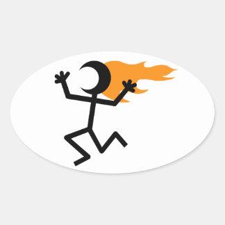 Flaming Head Oval Sticker