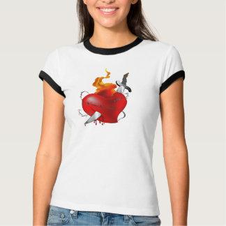 Flaming Heart Bleeding Tattoo Shirt