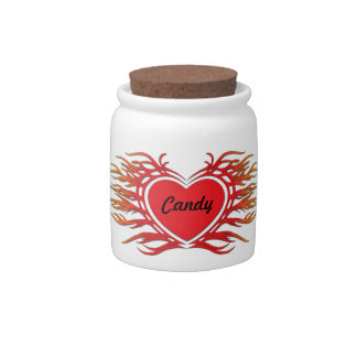 Flaming Heart Design Candy Jar