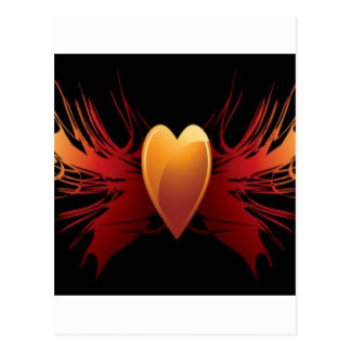 Flaming heart design postcard