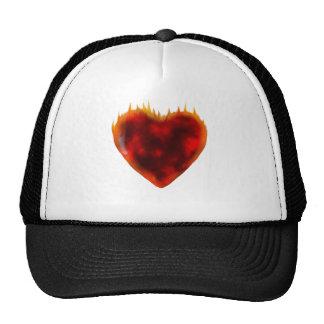 Flaming Heart Trucker Hats