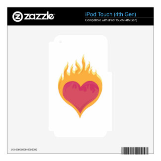 Flaming Heart iPod Touch 4G Decal