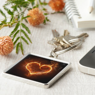 Flaming Heart Keychain