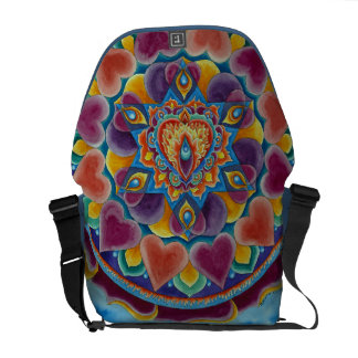 Flaming Heart Mandala Rickshaw Messenger Bag