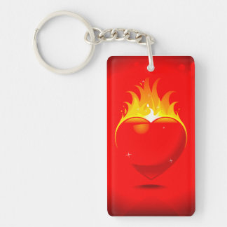 Flaming Heart Rectangle (single-sided) Keychain