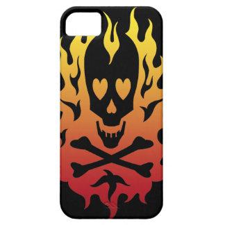 Flaming Heart Skull Black iPhone 5 Case