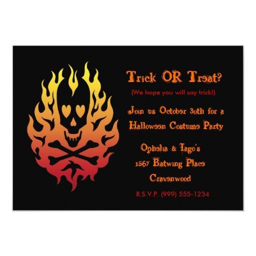 "Flaming Heart  Skull Halloween Invitations 5"" X 7"" Invitation Card"