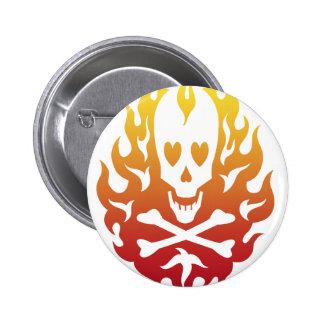 Flaming Heart Skull Pin