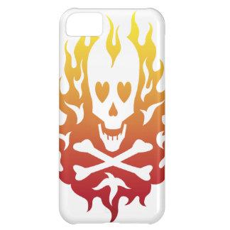 Flaming Heart Skull White iPhone 5 Case