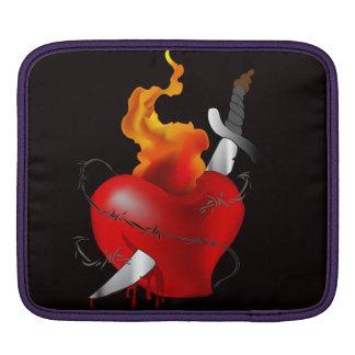 Flaming Heart Sword Tattoo Ipad Sleeve