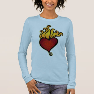 Flaming Heart Tattoo Design Long Sleeve T-Shirt