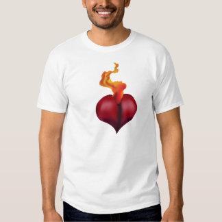 Flaming Heart Tattoo Design Vector Shirt