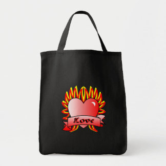 Flaming Heart Tattoo Style Bag