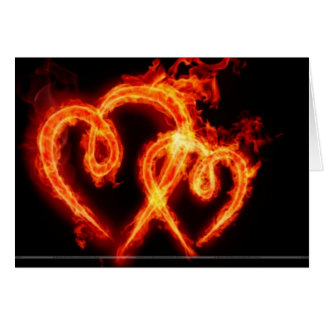 Flaming Heart Valenties Day Card