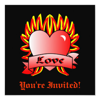Flaming Heart Valentine's Party Card