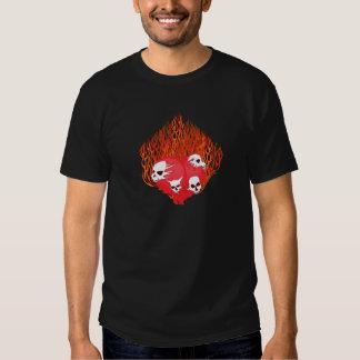 Flaming Heart with Skulls Tattoo Shirt
