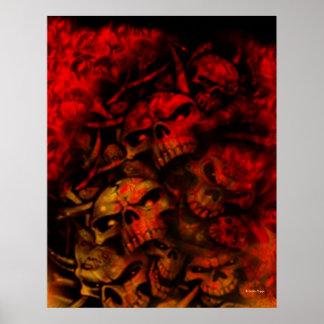 Flaming Hell Gothic Skulls Art Poster