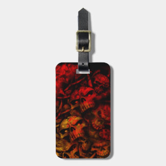 Flaming Hell Grunge Goth Skulls Luggage Tag