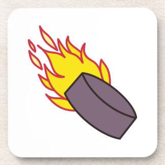 Flaming Hockey Puck Drink Coaster