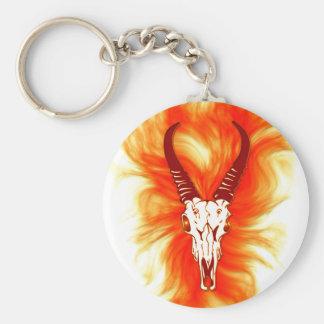 'Flaming Horned Bull Skull' Design Basic Round Button Keychain