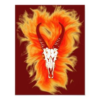 'Flaming Horned Bull Skull' Design 4.25x5.5 Paper Invitation Card