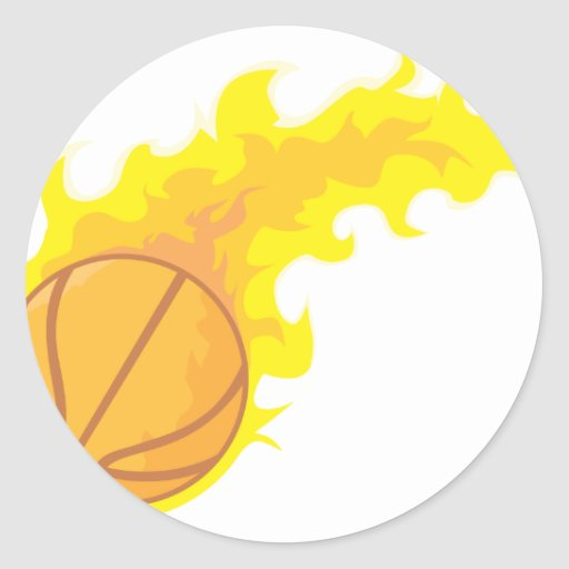 Flaming Hot Basketball Round Stickers