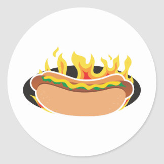 Flaming Hot Dog Round Stickers