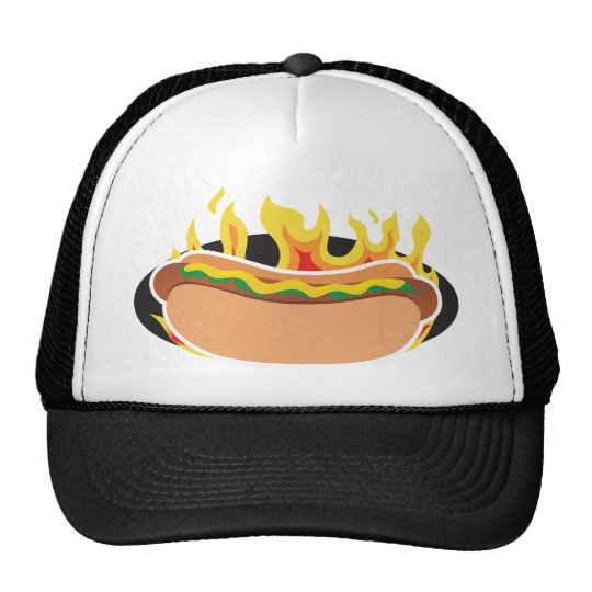 Flaming Hot Dog Trucker Hat