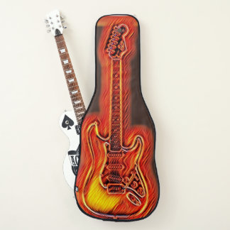 Flaming Hot Electric Guitar Painting on Guitar Case