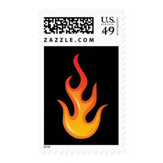 Flaming hot fire flame on black postage stamp