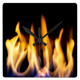 Flaming hot! square wall clock