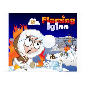 Flaming Igloo Game Image Postcard
