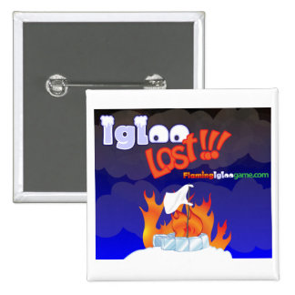Flaming Igloo Lost 2 Inch Square Button