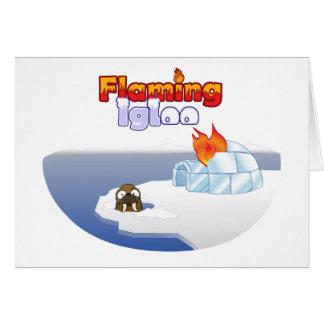 Flaming Igloo Oval Walrus Scene Card