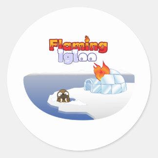Flaming Igloo Oval Walrus Scene Classic Round Sticker