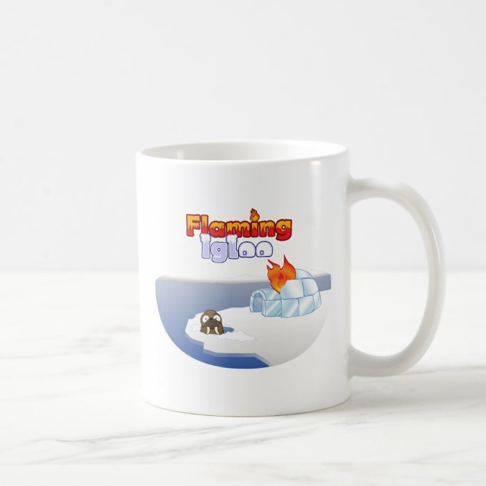 Flaming Igloo Oval Walrus Scene Coffee Mug