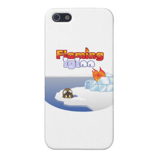 Flaming Igloo Oval Walrus Scene iPhone 5 Cases