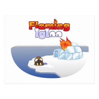 Flaming Igloo Oval Walrus Scene Postcard